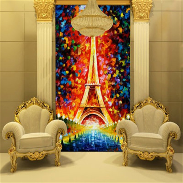 Eiffel tower wallpaper oil painting 3d photo wallpaper for Bedroom mural painting