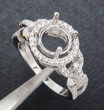 Round 6.5mm Solid 14k white gold natural diamond semi mount engagement ring, Free Shipping(China (Mainland))