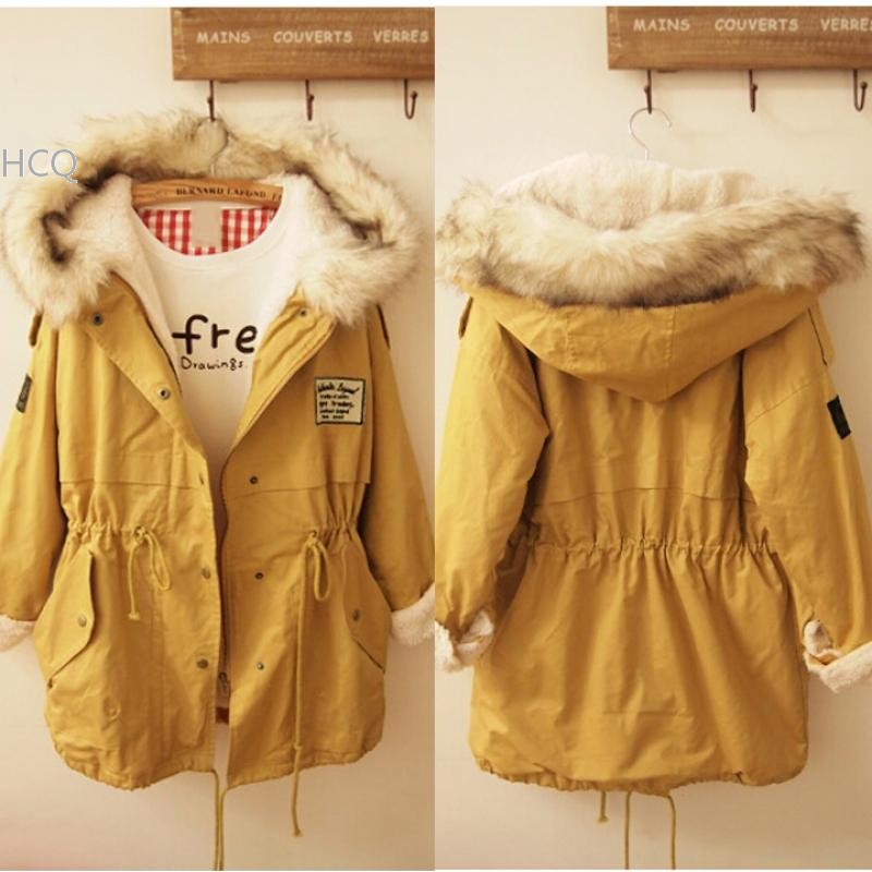 Best Price !2014 Winter Coat Women Fur Collar Thick Padded Long Warm Coat Outerwear Jacket 30(China (Mainland))