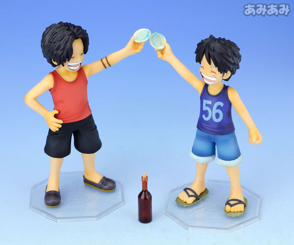 Promotion price New One Piece Luffy and Ace P.O.P  figures 13cm toy New Child Childhood brother Japan Comic anime