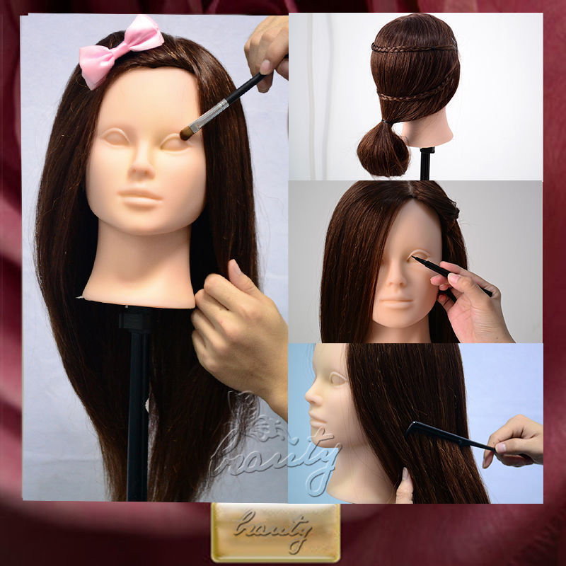 2015 New Cosmetology Face Makeup & 22'' Brown 90% Real Human Hair Training Head Mannequin +Free Clamp Free Shipping C20(China (Mainland))