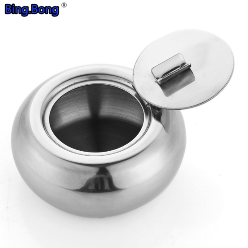 Stainless Steel box Drum Shape Ashtray Cigarette Cigar Smoking Smoke Ash Tray thickening gift fashion brief with lid office man(China (Mainland))