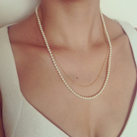 2015 Fashion Brand New Sweet Pearl Copper Double Short Bead Chain Necklace - My Miss store