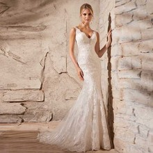 Wedding Dress Popular Full V-neck Spaghetti Straps Bridal Vestidos Beading and Crystals Bridal Gown(China (Mainland))