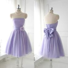 Simple Elegant Strapless Sleeveless Short Mini Handmade Flowers Pleated Ruched Mint Green Party Lilac Bridesmaid Dresses 2015