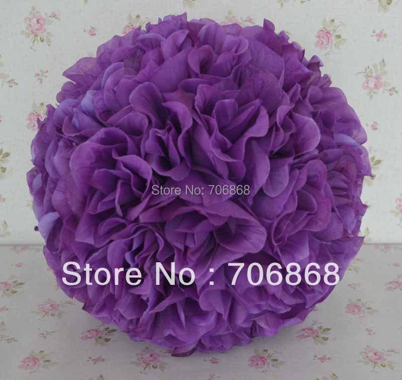 30cm purple color silk wedding decoration kissing rose flower ball(China (Mainland))