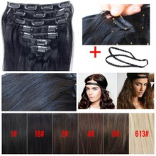 Clip In Real Human Remy Hair, Brazilian Virgin Straight Hair Extensions, 100% Unprocessed Human Clip in Hairpieces 70g 7pcs/set(China (Mainland))