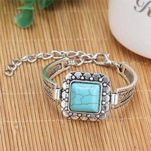 Turquoise Bracelets Vintage Silver Chain 2016 New Fashion Fine Jewelry Design Big Brand Collar Women Charm Bracelets Christmas(China (Mainland))