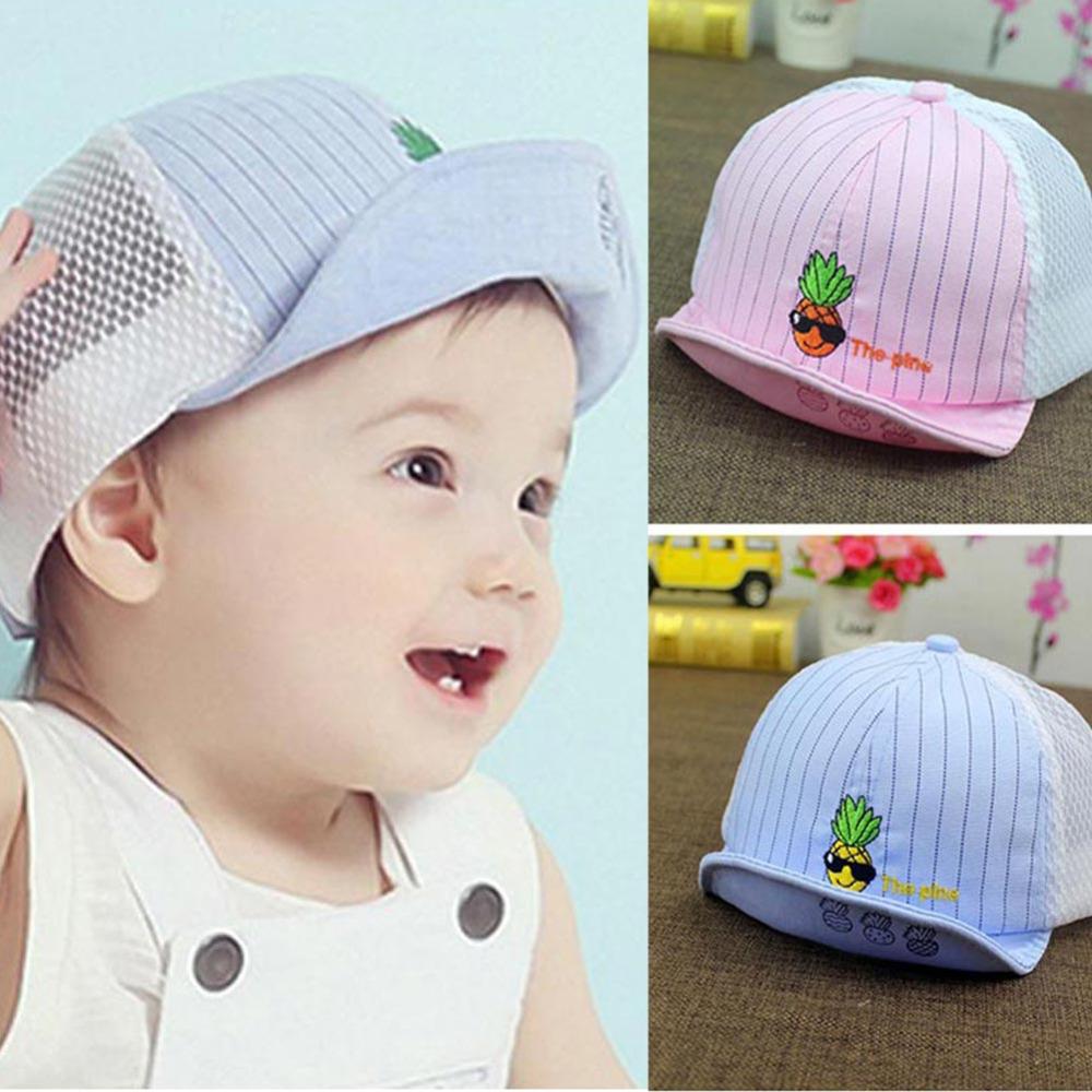 2016 Summer Children Caps For Girls Mesh Baby Cap Toddler Sunhat Boys Visor Pineapple Hats Adjustable Kids Beach Suncap(China (Mainland))