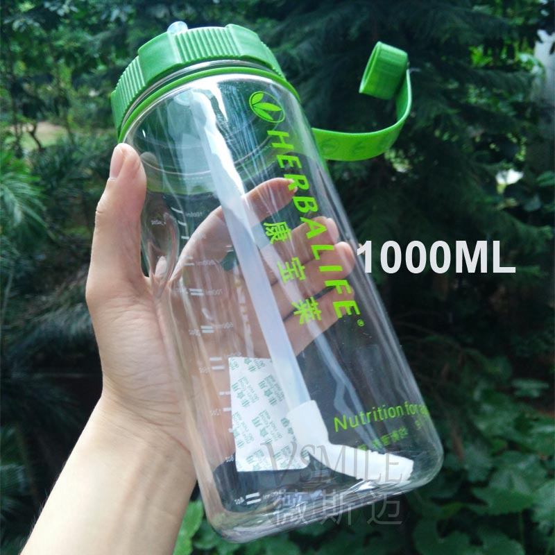 Wholesale top quality 1000ml big capacity herbalife brand water Bottle leak proof plastic space cup with strap straw suppliers(China (Mainland))