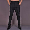 HOT 2016 NEW Men Tooling trousers autumn trousers tight casual pants cotton elastic fashion pants black