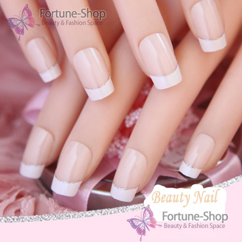 24 nails french pre design 3d False Nails Tips Fake Nail French Nail Art Tips With Free Glue(China (Mainland))