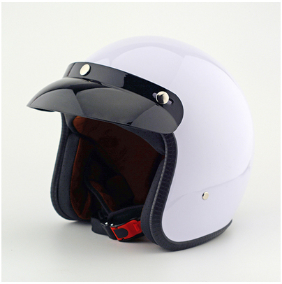 FF#02 Vintage ABS Motorcycle Helmet Scooter Motorbike Casque Open Face Motocross Full Gloss White Helmet & With UV Goggles Adult(China (Mainland))