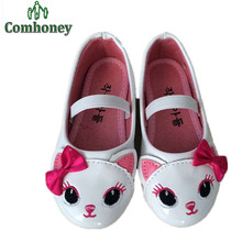 Sweet Cat Children Shoes Toddler Girls Sandals With Bow PU Leather Princess Sandals For Girls Flat Shoes Children's Footwear(China (Mainland))