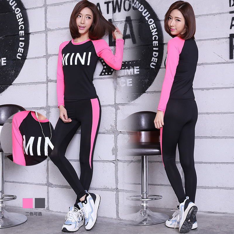 Women's Running Yoga Sports Suits Long Sleeve Shirts Long Pants Compression Tights Fitness Workout Breathable Shirts Tops+Pants