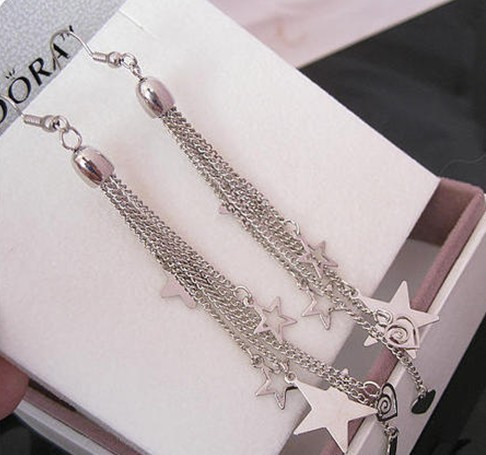 Stylish Stars Hearts Long Chain Tassel Hook Earring for Women,Black Silver Plated Alloy Long Drop Earrings Dangle Jewelry Cheap(China (Mainland))
