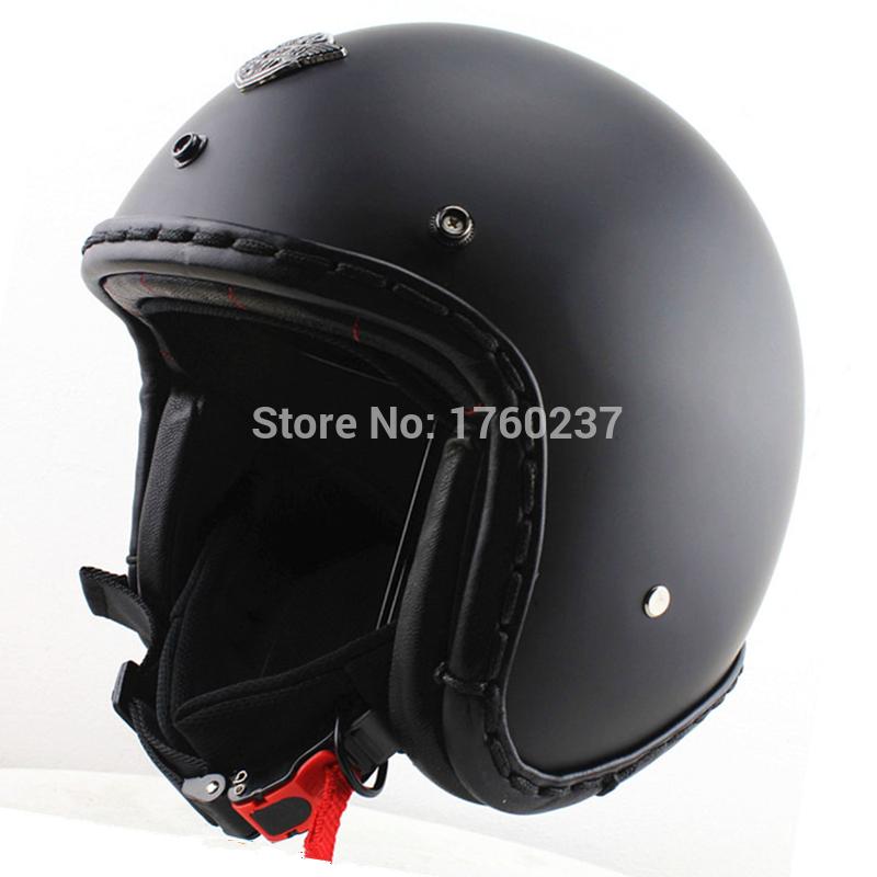 Handtailor Men open face vintage motorcycle helmet Cruiser scooter jet helmets casco capacete matte black DOT Approved