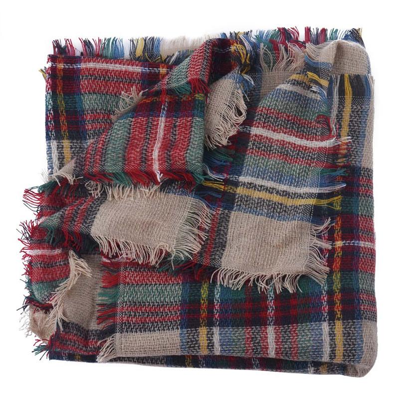 Women Wool Blend Scarf Blanket Oversized font b Tartan b font Wrap Shawl Plaid Checked Pashmina