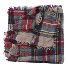 Women Wool Blend Scarf Blanket Oversized Tartan Wrap Shawl Plaid Checked Pashmina New big plaid scarf knitted shawl thick sale