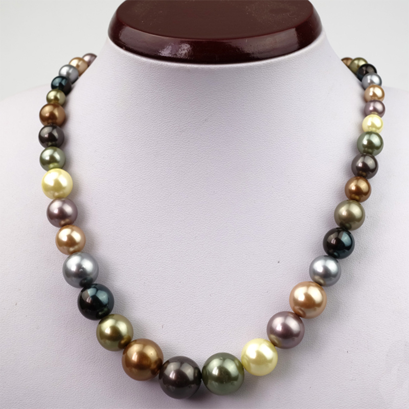 Multicolor simulated pearls women long necklace S925 silver bucket natural deep sea shell beads ladies strand necklace jewelry(China (Mainland))