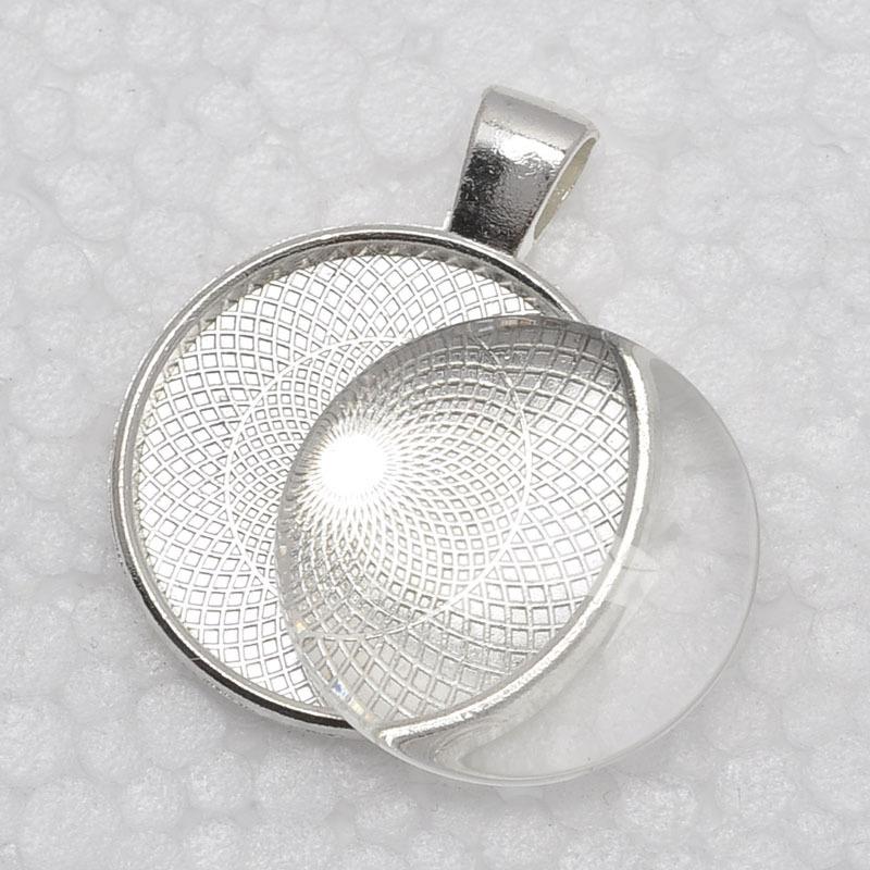1 inch Pendant Trays glass cabochon set Blank Pendant Bases 25mm Bezel Pendant Settings for Glass