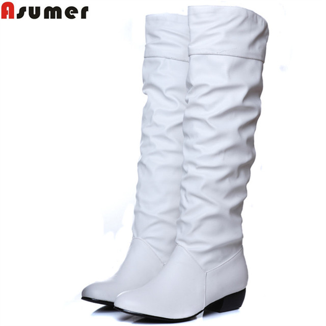 Asumer Plus size 2017 new arrive Mid-Calf Women Boots Black White Brown flat heels half boots spring autumn shoes