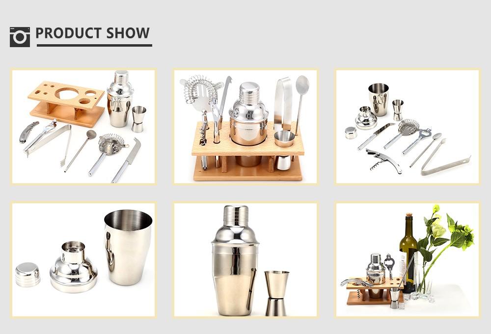 Buy 9pcs 350ml Professional Stainless Steel Cocktail Maker Shaker Jigger Ice Strainer Clip Cheese Knife Bottl. cheap