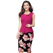 2016 Summer Elegant Women Business Dress Pink Print  Floral Tunic Bodycon Sheath Casual Pencil Dresses Plus Size B288(China (Mainland))