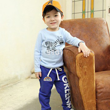 Child Baby Boys Long Pants Trousers Casual Rainbow Pattern Cotton Bottoms For 2-6Y(China (Mainland))