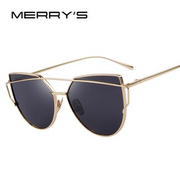 MERRY'S Fashion Women Cat Eye Sunglasses Classic Brand Designer Twin-Beams Sunglasses Coating Mirror Flat Panel Lens S'7882