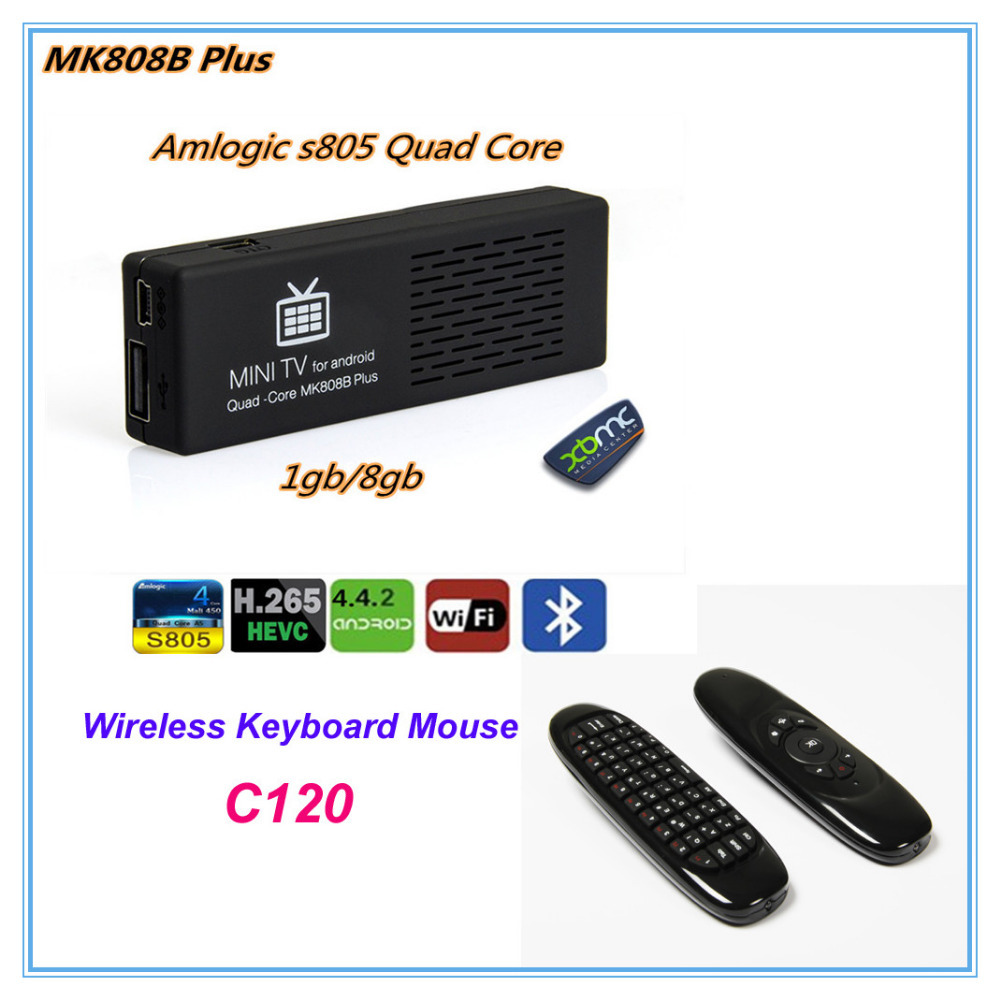 MK808B Plus+C120 Wireless keyboard mouse  Android 4.4 TV Stick TV Dongle Amlogic M805 Quad-Core  Mini PC HD1080P H.265HEVC XBMC <br><br>Aliexpress