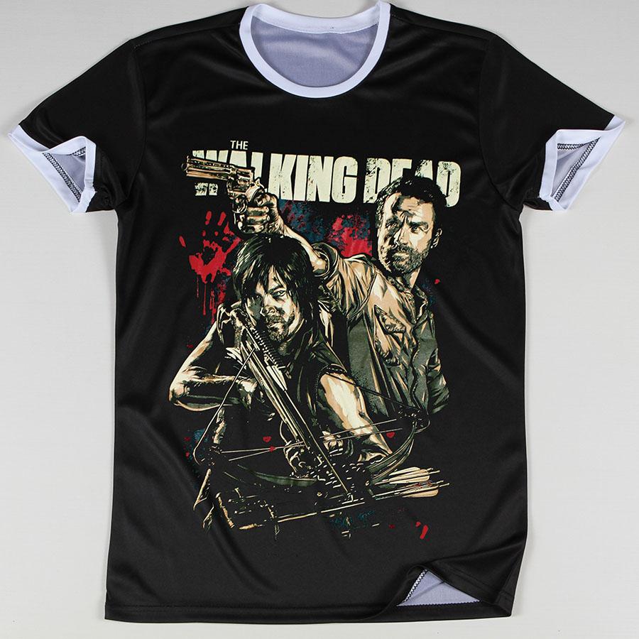 Гаджет  Promotion Summer Men Tops The Walking Dead Printed T Shirts Round Collar Neck Tees Man Camisetas Short Sleeve  None Одежда и аксессуары