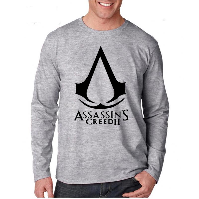 New Fashion Game Assassins Creed Logo T-shirts Men Tshirts Long Sleeve O Neck Summer T Shirts Casual Tees Plus Size XS-XXL(China (Mainland))