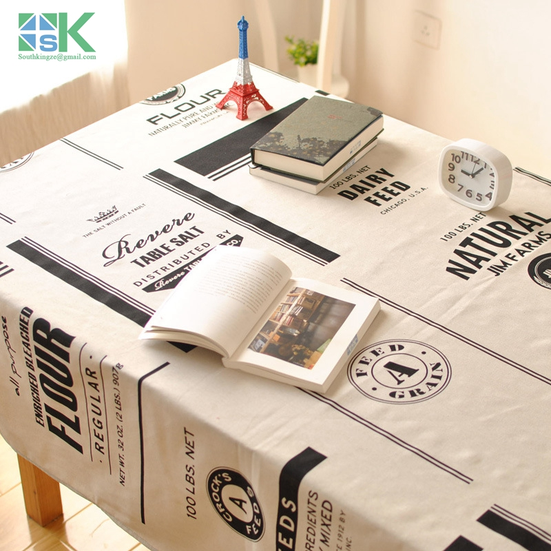 2016 new new Nordic Roundtable cotton tablecloth table cloth tea table modern minimalist black and white English cloth factor(China (Mainland))
