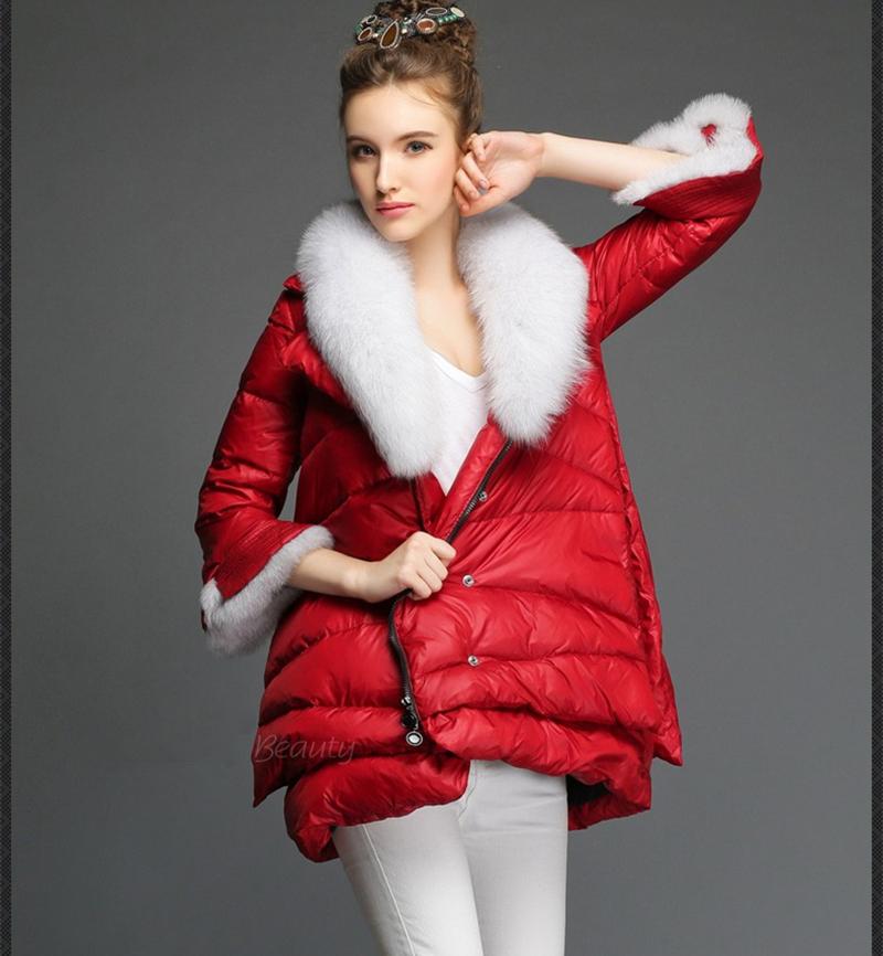 3 Colors Women Long Down Coat Winter Warm Jacket Fox Fur Collar Zipper Female Outerwear 2015 New Fashion S-2XL ZP495Одежда и ак�е��уары<br><br><br>Aliexpress