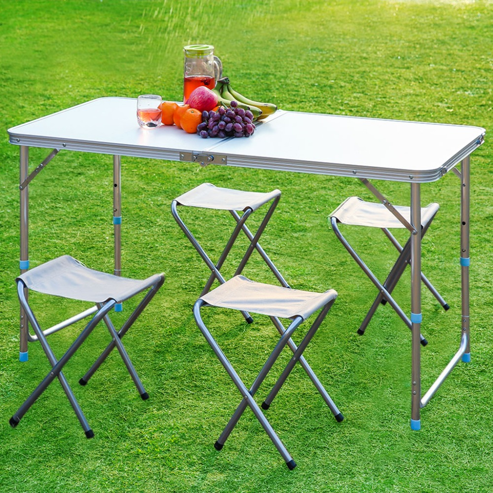 Finether Folding Outdoor Table Stool Set Ultralight Height-Adjustable Aluminum Portable Table for Dining Picnic Camping BBQ(China (Mainland))