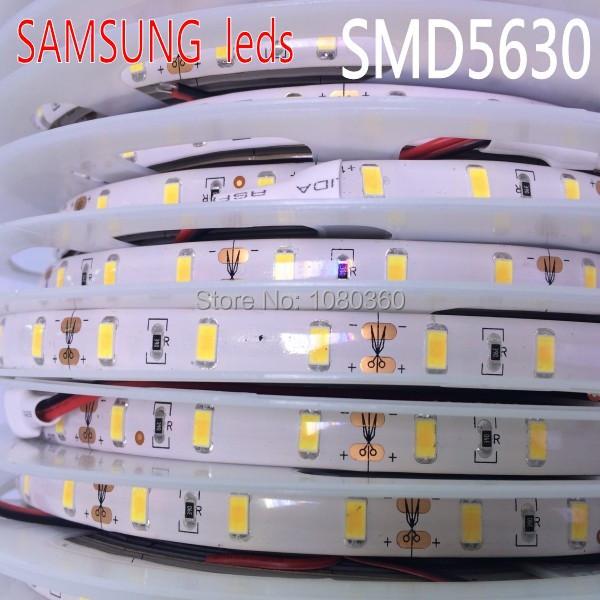 SAMSUNG SMD 5630 led strip 5m 60leds/m 12V tape light Waterproof natural Neutral warm white Ultra Bright IP65, Free