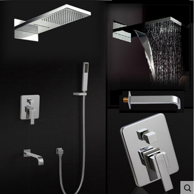 Chrome Finish Bath Shower Mixer Faucet Set Single Handle Waterfall Rain Shower Set Faucet with Handshower