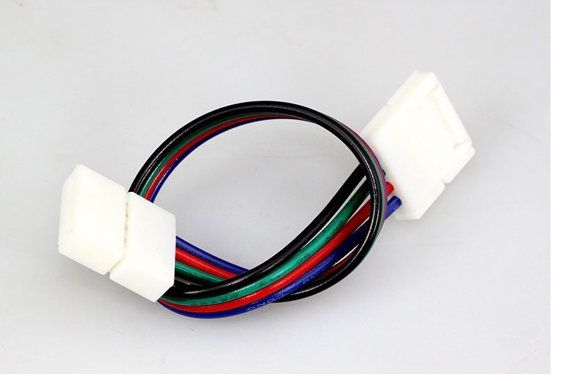 10pcs 5050 RGB color LED strip/Tape connector, Free welding connector 2*10mm 4pin Strip to Cable For 3528 5050 RGB Strip light(China (Mainland))