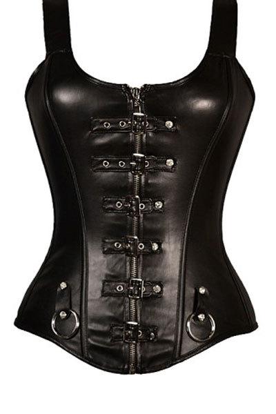 New 2015 women Slimming Underwear Shapers Waist Cincher Black Leather Punk Buckled Detail Straps Corset Slimming belt(China (Mainland))