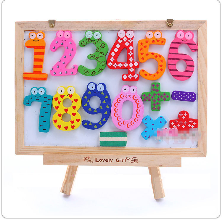 Wooden Digital Fridge Magnets Children's Early Learning Educational Maths Toy Wooden Refrigerator fridge magnet stick 15PCS/Set(China (Mainland))