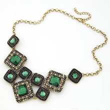 Green Gem Square Vintage Statement Necklace Women Retro Rhinestone Necklace & Pendants Summer Style Jewelry colar For Gift Party(China (Mainland))