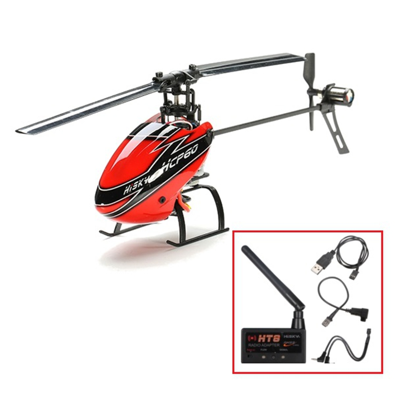 New Arrival Hisky HCP60 2.4G 6CH 6 Axle Gyro Flybarless RC Helicopter With HT8 Adapter Module RC Helicopter RC Toys For Children(China (Mainland))