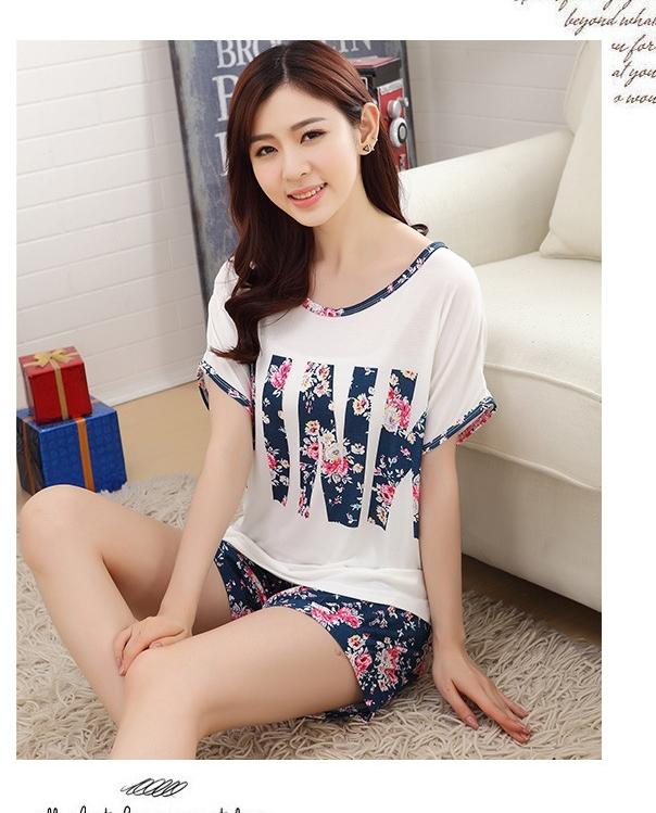 """Fashion round neck short sleeve Pyjamas letter """"PINK"""" printing casual women's pajama pajamas summer milk silk sleeping clothes(China (Mainland))"""