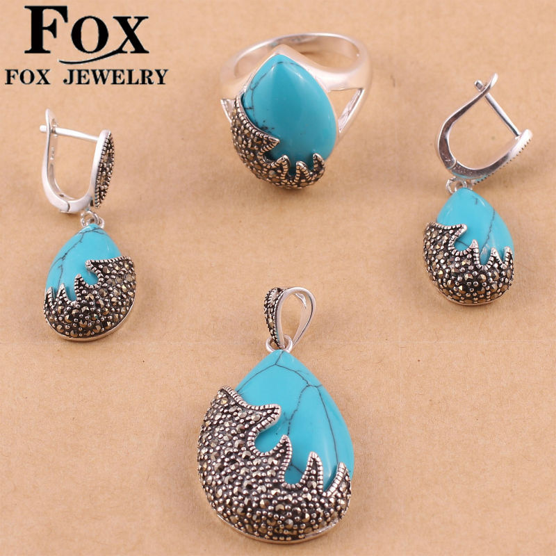 Blue Turquoise Fashion Women Wedding Jewelry Sets 925 sterling Thai Silver Vintage Earrings Rings Necklaces Pendants Gifts 650T5