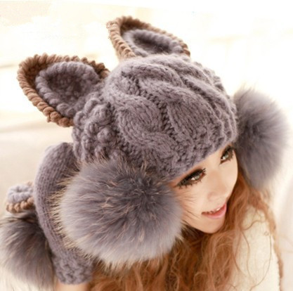 Fashion Korean Women lady Devil horns Cat Ear Crochet Braided Knit Ski Beanie Wool Hat Cap winter warm beret - Crown Sister Shop store