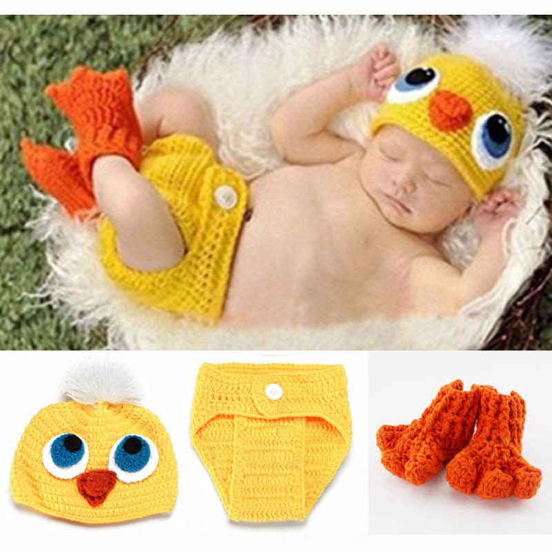 Crochet Knit Baby Hat and Diaper Cover & Shoes Costume Duck Photography Props Beanies SY41(China (Mainland))