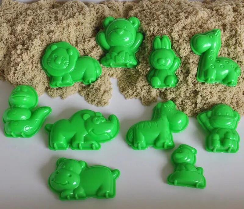 10 Pieces a Set Animal World Sand Molds Set DIY Beach Sand Toys for Kids Educational Children's Mars Space Magic Sand Toys 0130