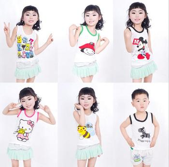 New Summer Child Clothes Cool Cheap Vest Kids Cotton Casual Sleeveless Comfortable T- Shirts for Boys Girls Sport Vests F107