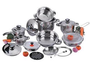 0 Series cookware advanced stainless steel cookware 23PCS set gold pot(China (Mainland))